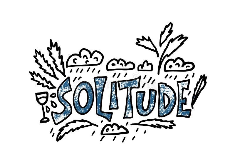 Texte tiré par la main de solitude Concept de mot de vecteur illustration stock