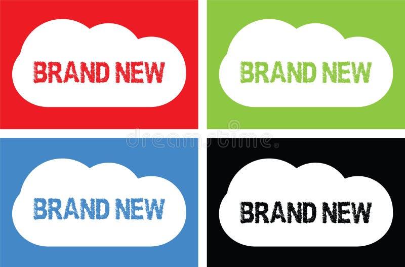 Texte TOUT NEUF, sur le signe de bulle de nuage illustration de vecteur