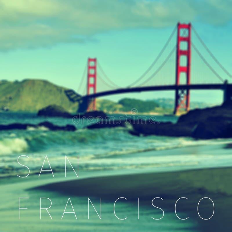 Texten San Francisco och Golden gate bridge royaltyfri bild