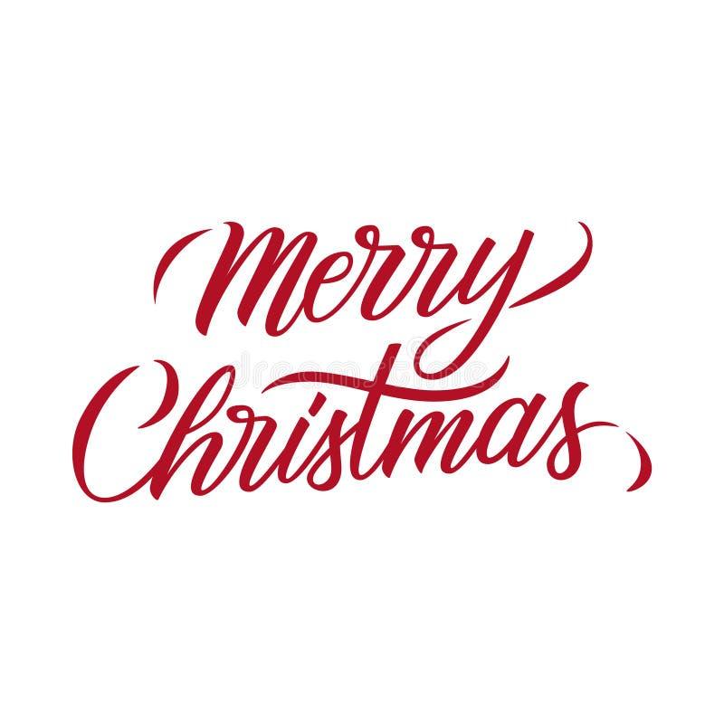 Textentwurfs-Kartenschablone der frohen Weihnachten kalligraphische beschriftende Kreative Typografie für Weihnachtsurlaubsgrüße lizenzfreie abbildung