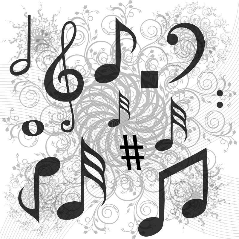 Textes de musique sur le fond floral illustration stock
