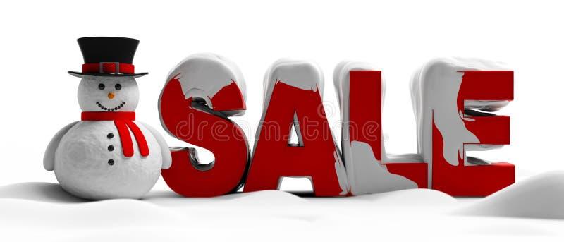 Textförsäljning, stora röda bokstäver som täckas med snö, och en snögubbe som isoleras på vit bakgrund illustration 3d stock illustrationer