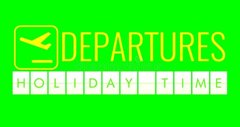 Textflip av brädet av flygplatsaffischtavlaavvikelser med tid för ordnamnferie på bakgrund för skärm för chromatangentgräsplan stock illustrationer