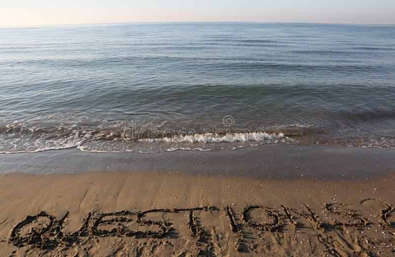 TextFRÅGOR på sanden vid havet royaltyfri fotografi