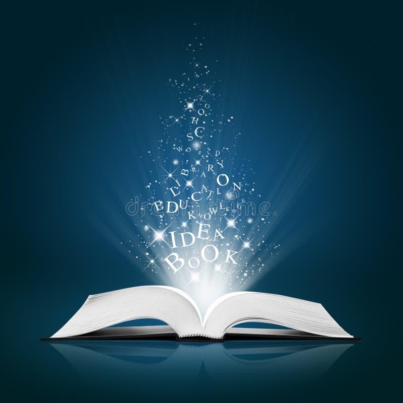 Textidee auf geöffnetem weißem Buch stockfoto