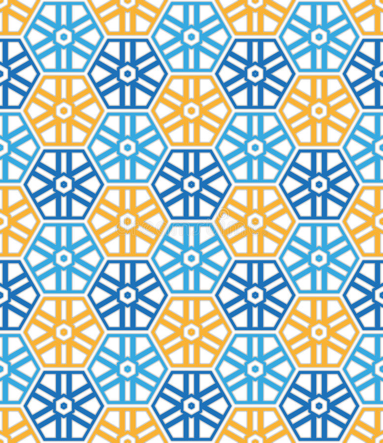 Textiel blauw en oranje kleuren hexagonaal patroon royalty-vrije illustratie