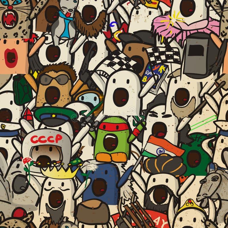 Textiel naadloos patroon van Internet memes Nichosi vector illustratie
