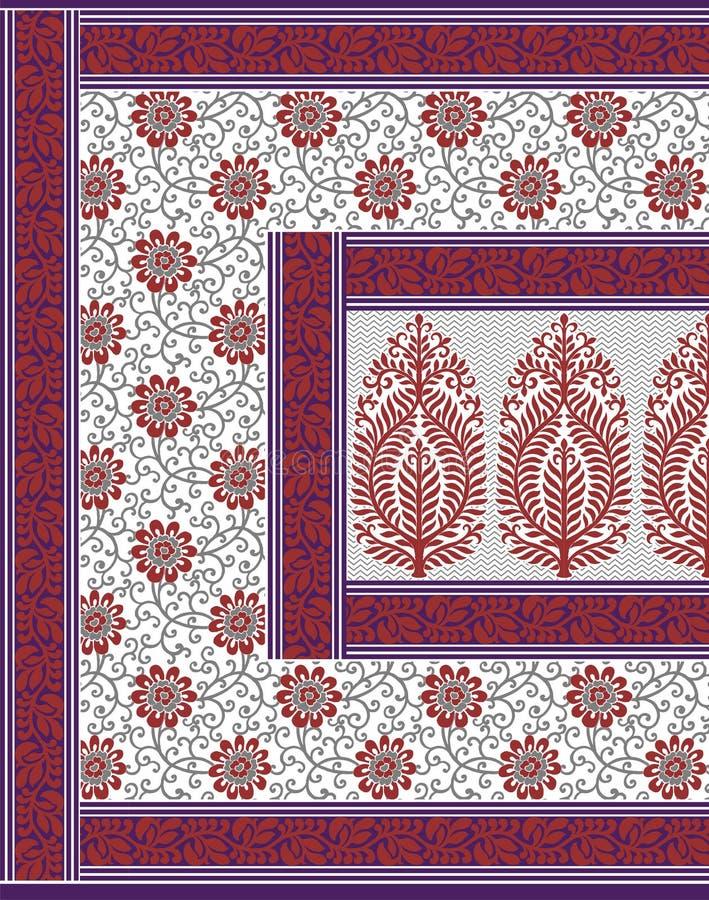 TEXTIEL traditionele pallu en HELEMAAL OVER het ontwerp van de PATROONkunst voor druk royalty-vrije stock foto