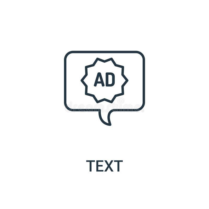 Textikonenvektor von der Anzeigensammlung Dünne Linie Textentwurfsikonen-Vektorillustration Lineares Symbol für Gebrauch auf Netz lizenzfreie abbildung