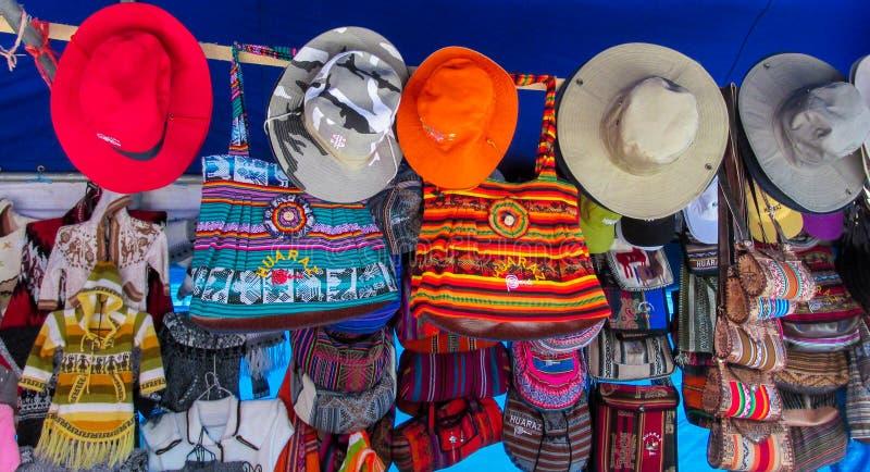 Textil在秘鲁市场上 库存照片