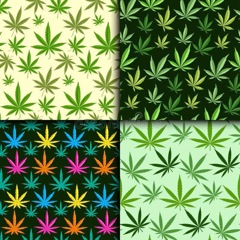 Textil för narkotiskt preparat för ört för blad för marijuana för modell för grön illustration för marijuanabakgrundsvektor sömlö vektor illustrationer
