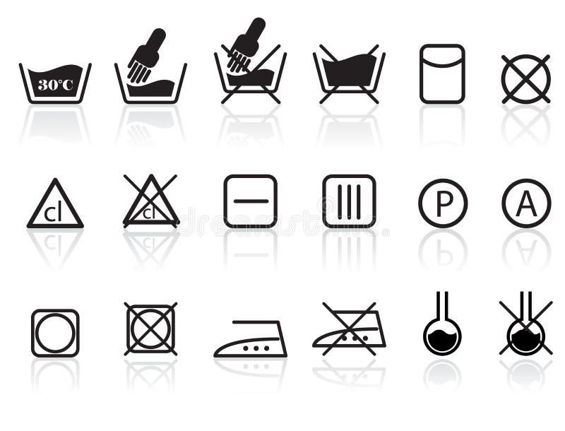 textil för omsorgstvätterisymboler royaltyfri illustrationer