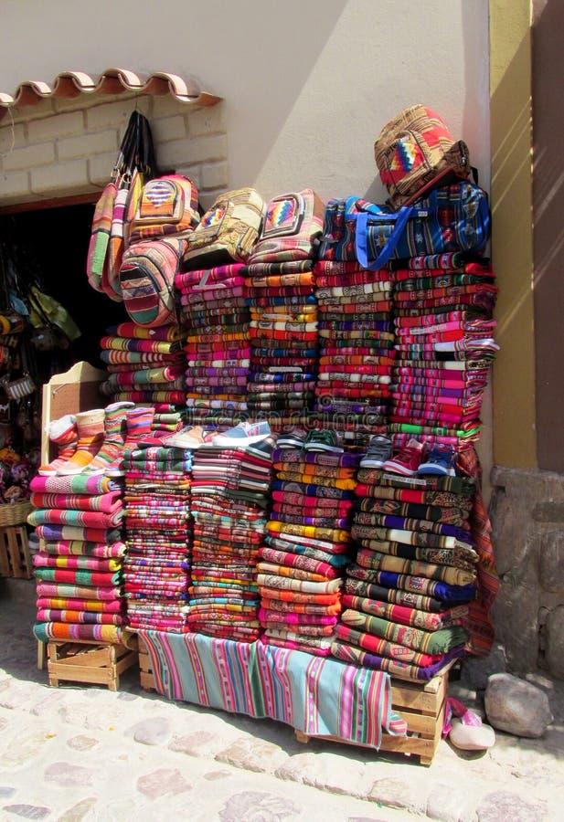 Textil quechua traditionnel photographie stock