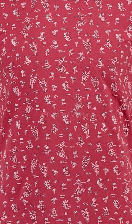 textile Κόκκινο υπόβαθρο με τα surfers των κοριτσιών στοκ φωτογραφίες
