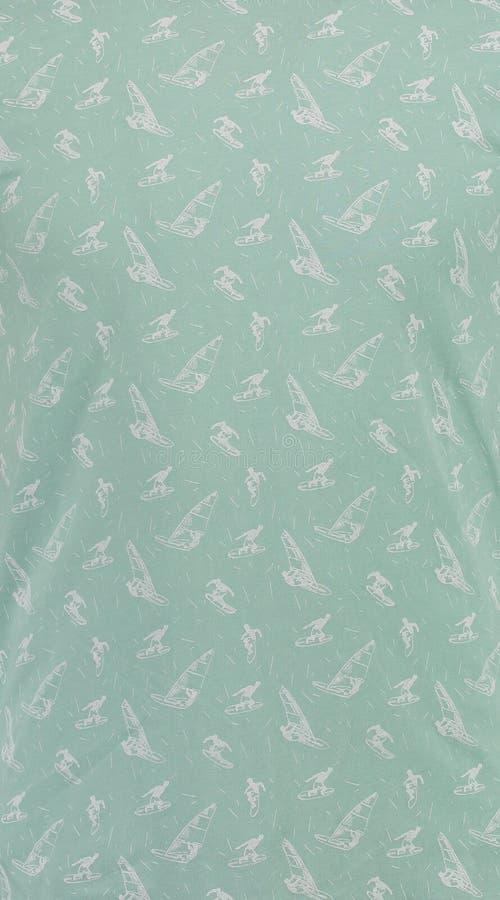 textile Πράσινο υπόβαθρο με τα surfers στοκ εικόνα με δικαίωμα ελεύθερης χρήσης