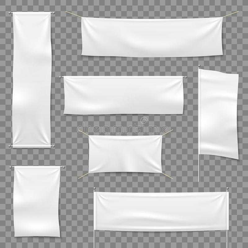 Textile advertising banners. Flags and hanging banner, blank fabric white horizontal cloth sign, textile ribbons vector. Mockup set vector illustration