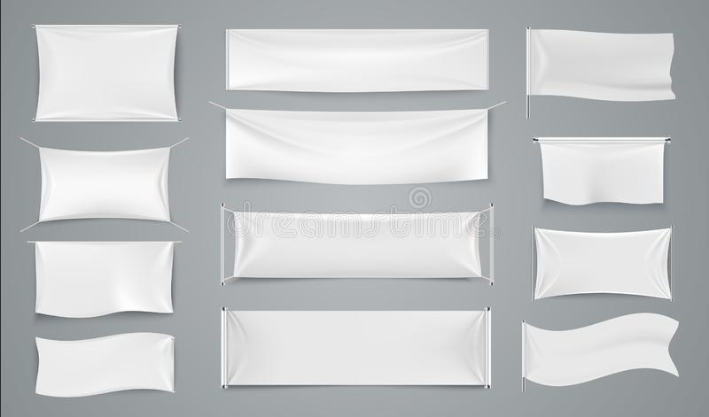 Textile advertising banners. White waving fabric signs, blank isolated promotion cloth label. Vector realistic royalty free illustration