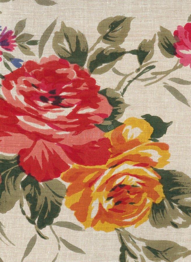 Textile avec le motif pour de vieilles roses photographie stock