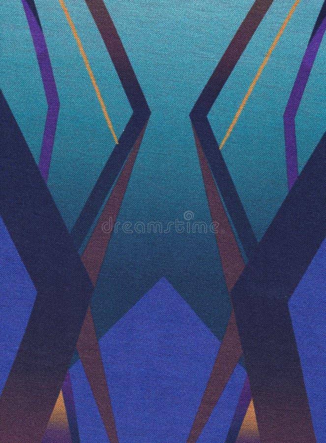 Textile avec les modèles symétriques géométriques avec la dominance bleue photo stock