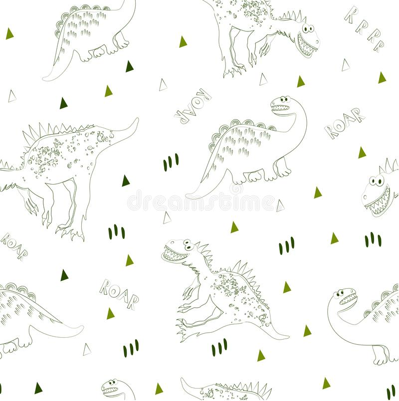 Textile background for children`s fashion or design. Vector illustration. The world of dinosaurs seamless pattern. T royalty free illustration