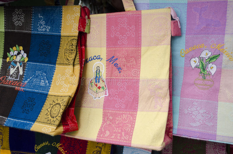 Textile bags. Colorful traditional textile bags for sale in Oaxaca, Mexico royalty free stock photos