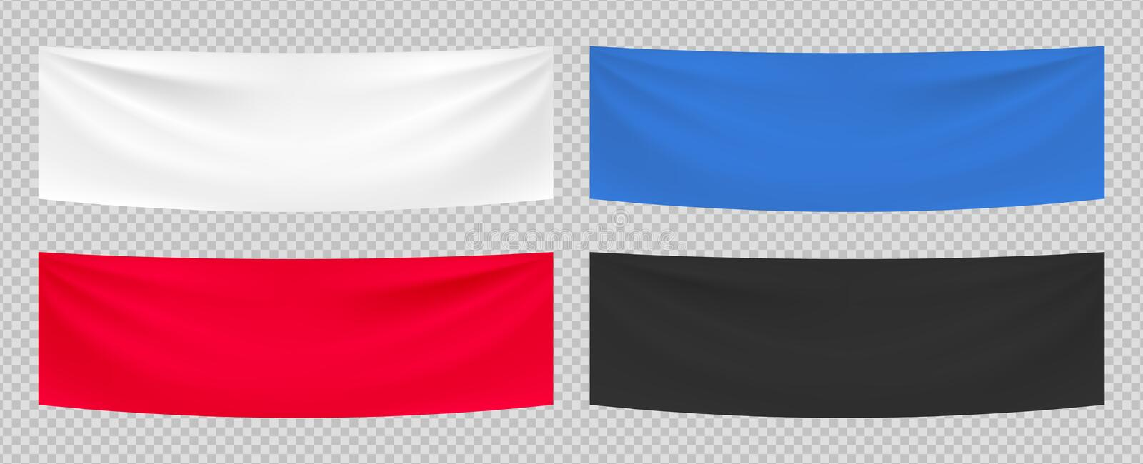 Textile banners. Vector realistic advertising blank fabric template. White red blue black textile banners isolated on stock illustration