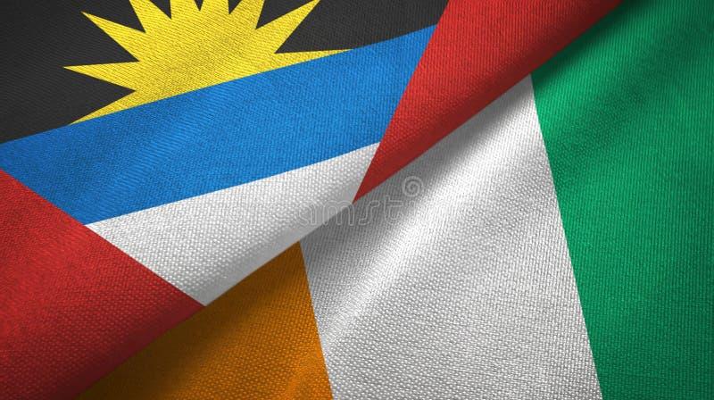 """Textile de drapeaux de la Côte d'Ivoire deux de l'Antigua-et-Barbuda et de Cote d """"Ivoire illustration de vecteur"""