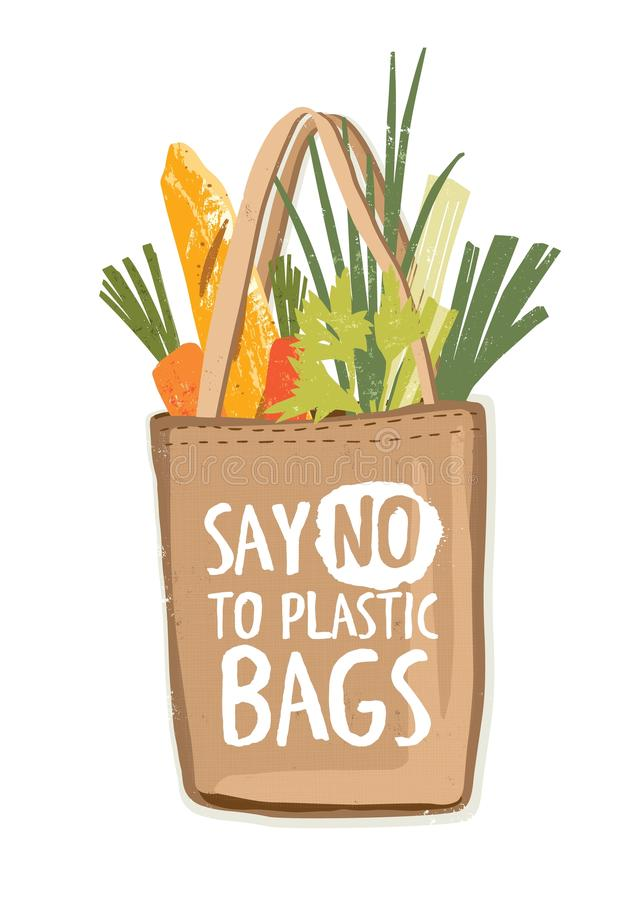 Textile eco friendly reusable shopping bag full of vegetables and other products with inscription Say No To Plastic Bags vector illustration