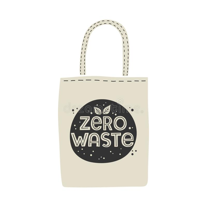 Textile eco-friendly reusable shopping bag with lettering Zero Waste. stock illustration