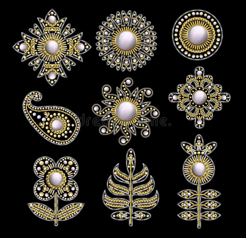 Textile embroidered patches with sequins, beads and pearls. Vector illustration. Textile embroidered patches with sequins, beads and pearls stock illustration