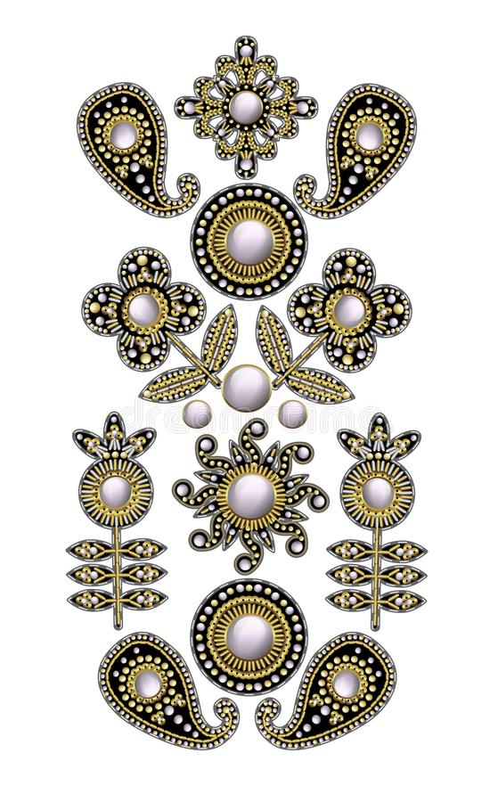 Textile embroidered patches with sequins, beads and pearls. Vector illustration. Textile embroidered patches with sequins, beads and pearls royalty free illustration