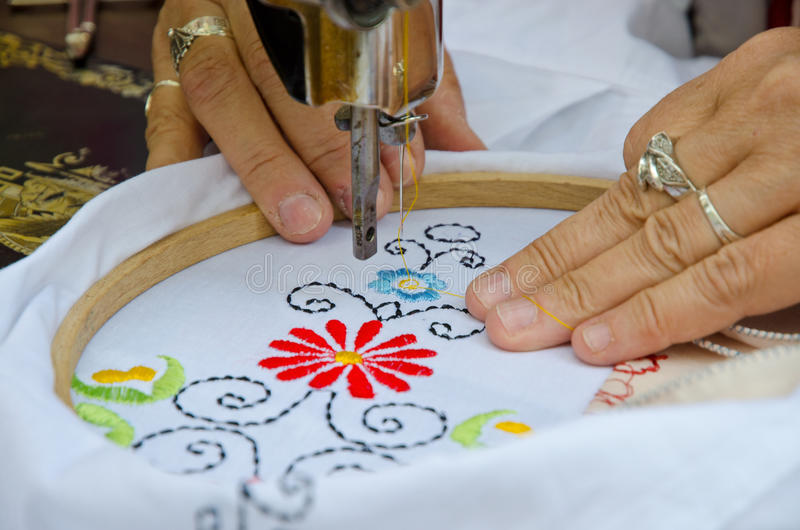 Textile embroidery machine stock photography