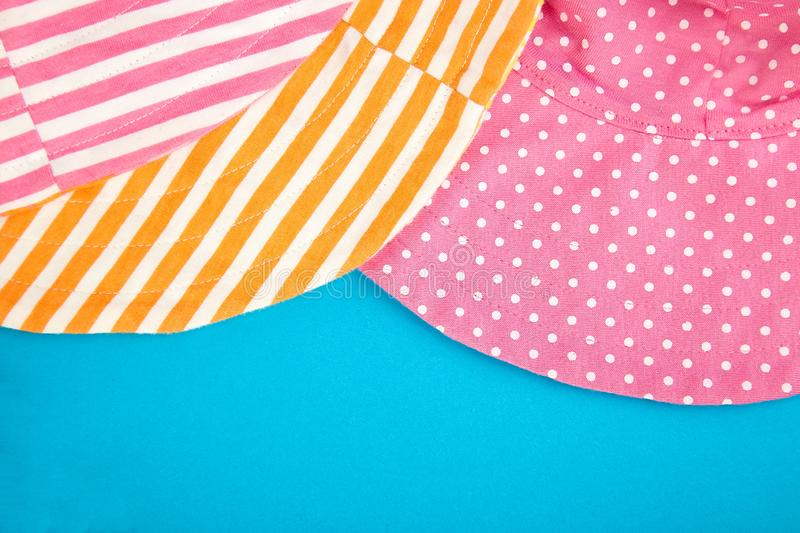 Textile, fabric, cloth pink polka dot and orange striped stock image