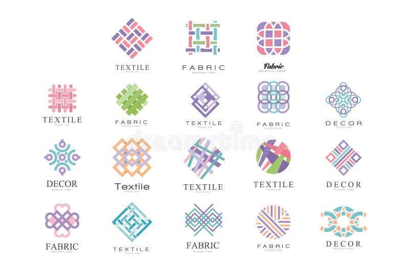 Textile, Fabric, Decor Logo Design Set, Tailor Shop, Sewing, Tailoring Industry Design Element Vector Illustration vector illustration