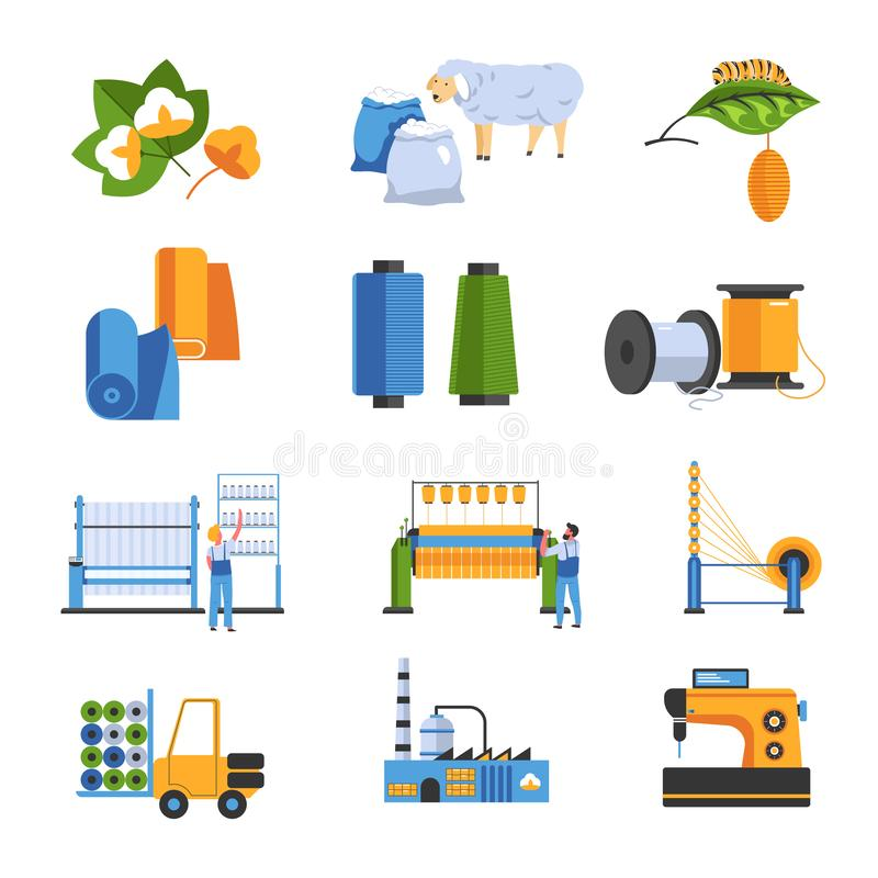 Textile factory isolated icons cotton and wool or silk vector illustration
