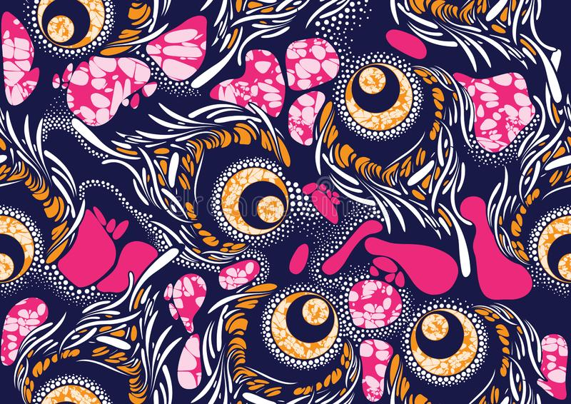 Textile fashion african print fabric super wax stock illustration