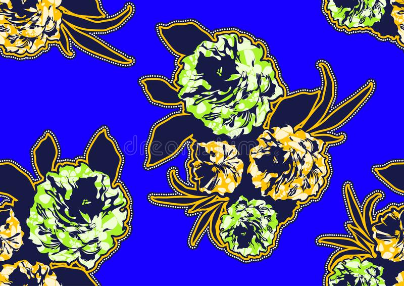 Textile fashion african print fabric super wax royalty free illustration