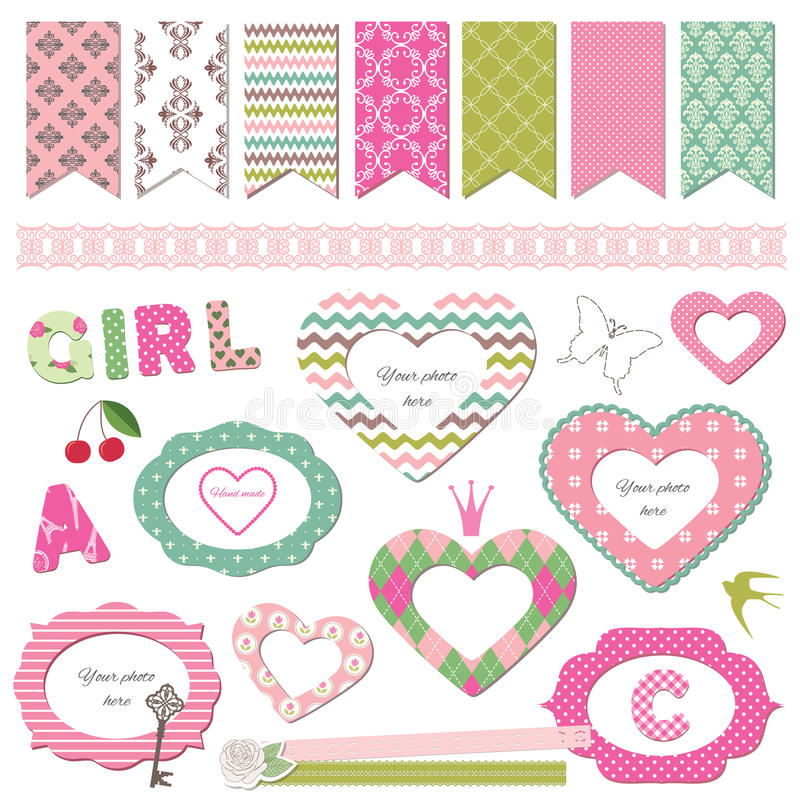 Textile Frames. Scrapbook Design Elements. Girly. Stock Vector ...
