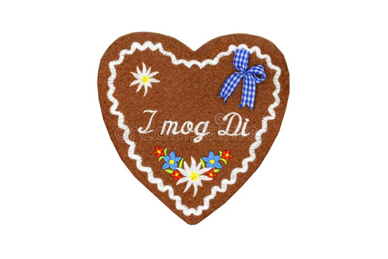 Textile Gingerbread heart shape valentines day gift on white iso royalty free stock photo