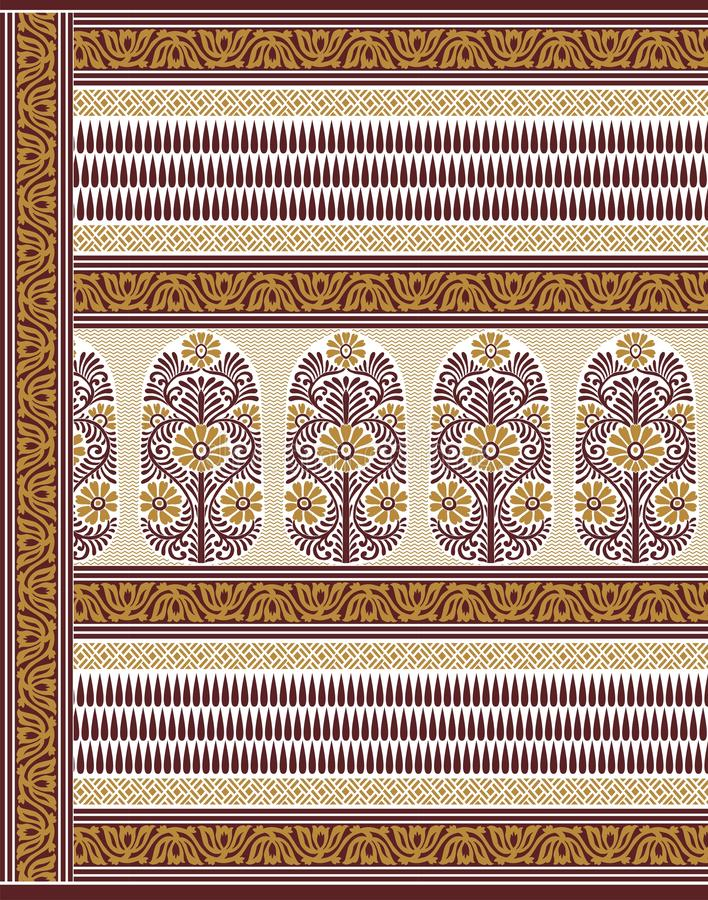 TEXTILE traditional pallu and ALLOVER PATTERN ART design for print. Textile Indian ornament pattern art design Seamless Paisley beautiful Pattern Indian Seamless vector illustration