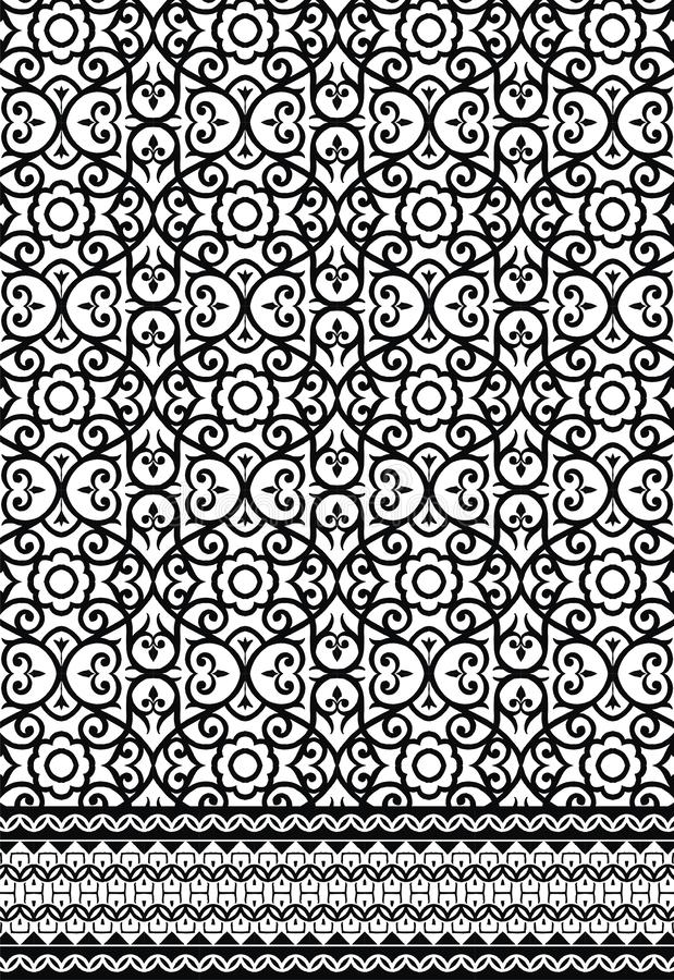 Black and white Pattern design with border  for print. Textile Indian  pattern art design Seamless Paisley beautiful Pattern black and white pattern textile stock illustration