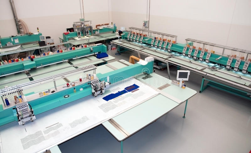 Textile: Industrial Embroidery Machine Royalty Free Stock Photography