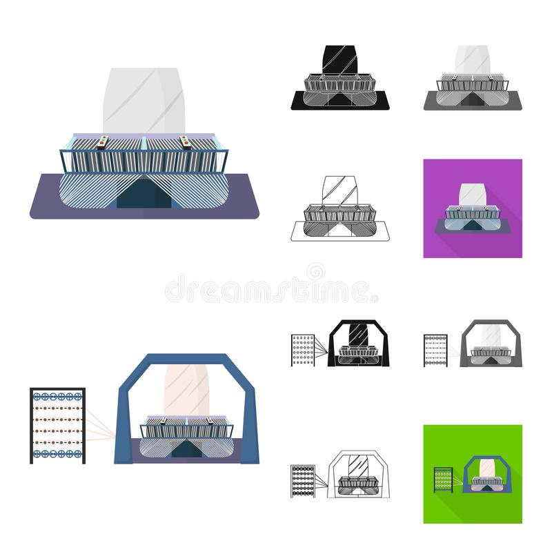Textile industry cartoon,black,flat,monochrome,outline icons in set collection for design.Textile equipment and fabrics stock illustration