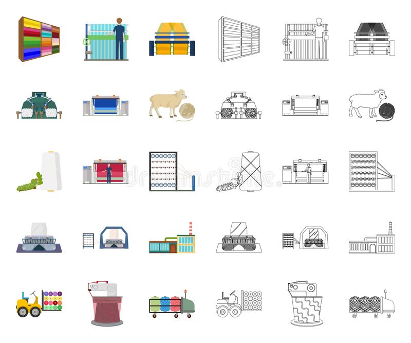 Textile industry cartoon,outline icons in set collection for design.Textile equipment and fabrics vector symbol stock royalty free illustration