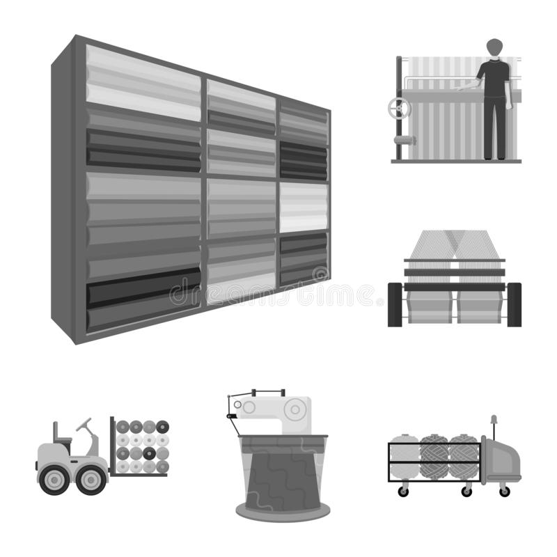 Textile industry monochrome icons in set collection for design.Textile equipment and fabrics vector symbol stock web vector illustration