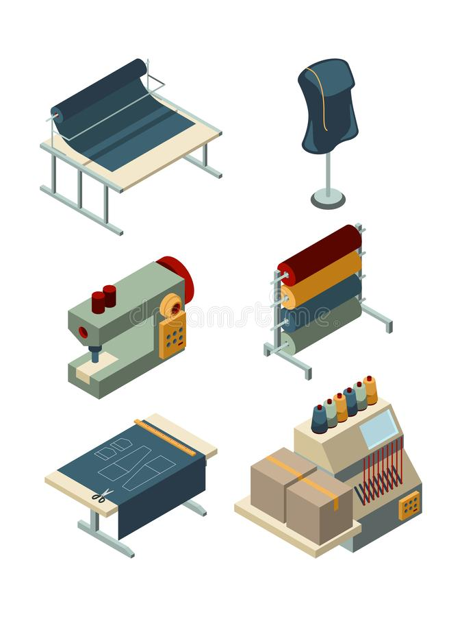 Textile isometric. Industrial sewing factory machinery production garments manufacturing vector collection royalty free illustration