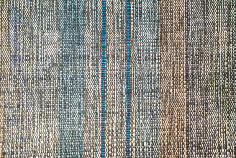 Textile line patern close up with blue and yellow tone.  stock photos