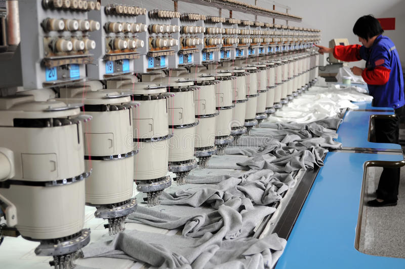 Textile machine stock photo