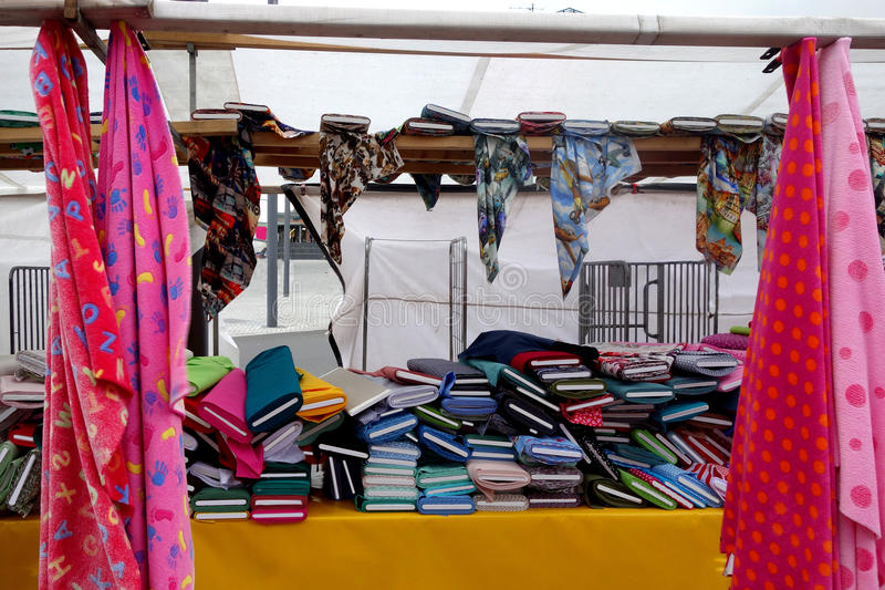 Textile market. With all you need for sewing. Here large pile of colorful fashion patterns bolts of material. Photo was taken in february 2015 royalty free stock photo