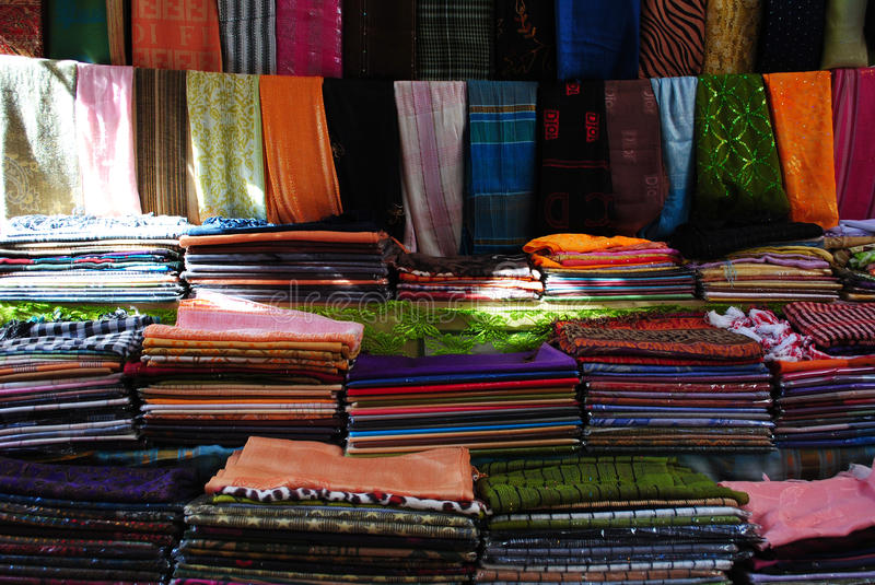 Textile market in Sharm el-Sheikh stock photo